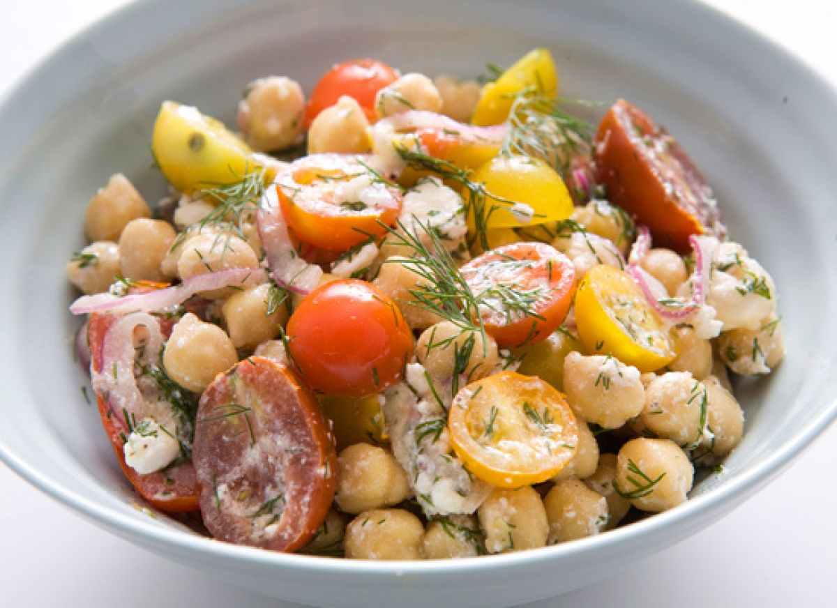 Chickpeas With Red Onion, Feta, Dill And Lemon (minus the dill - not a fan)