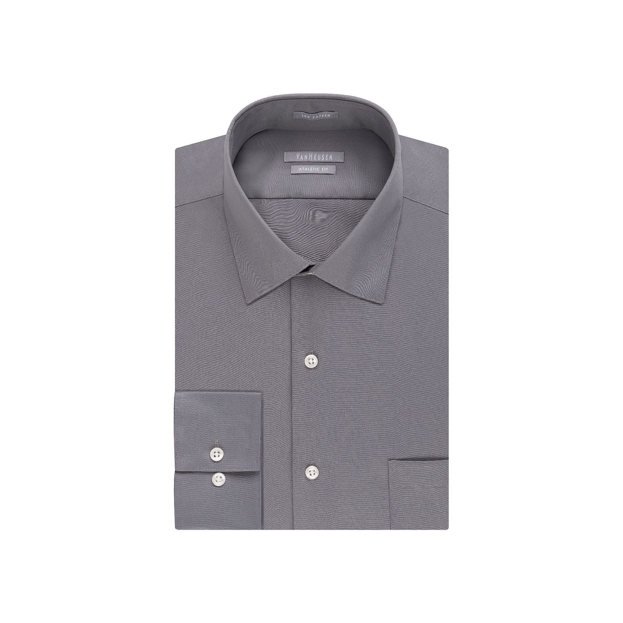 75276ff3636c2 Men's Van Heusen Fitted Athletic Solid Lux Sateen No Iron Spread Collar  Dress Shirt