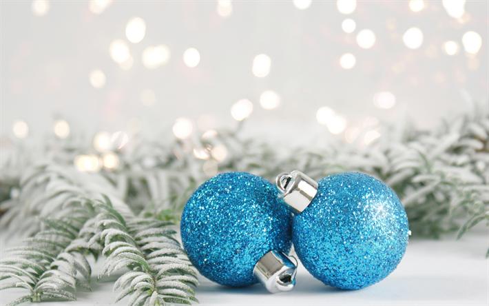 Herunterladen hintergrundbild blaue weihnachtskugeln neues jahr 2018 weihnachten dekoration - Blaue christbaumkugeln ...