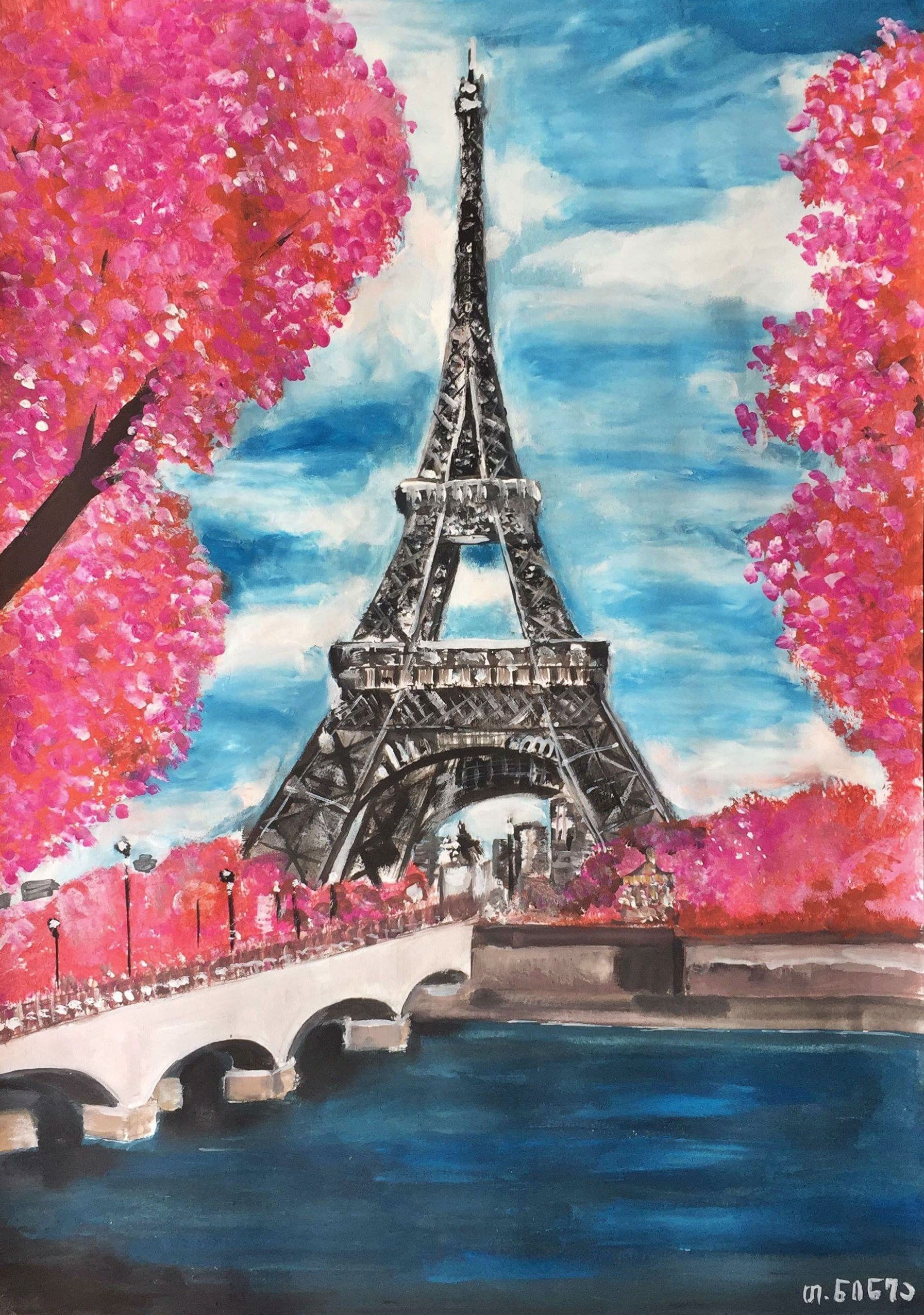 Art Gouache Paris Eiffeltower Spring Painting Drawing