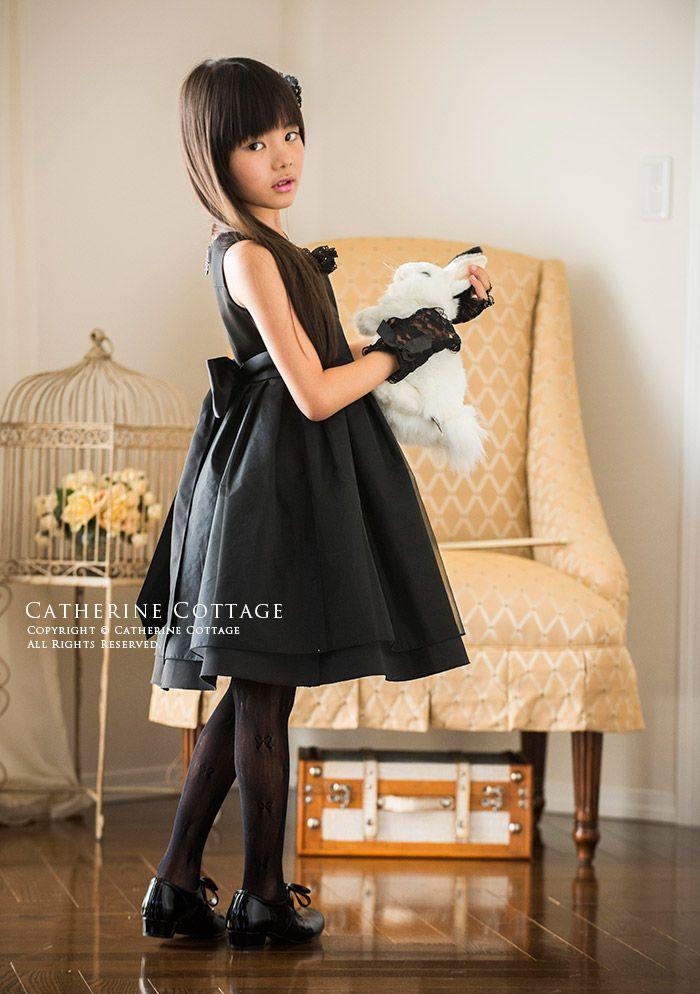 c8ff15abf8e59 商品番号: TK1055 入学式 子供服 女の子女の子ドレス 発表会 黒フリル ...