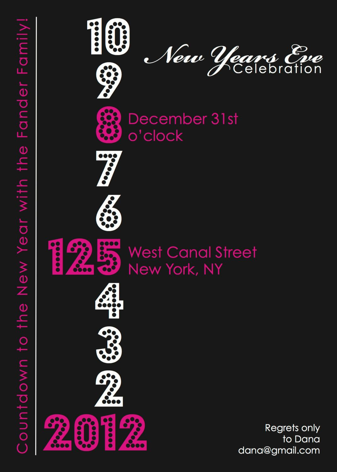 Countdown to the New Year Party Invitation DESIGN. $12.00, via ...