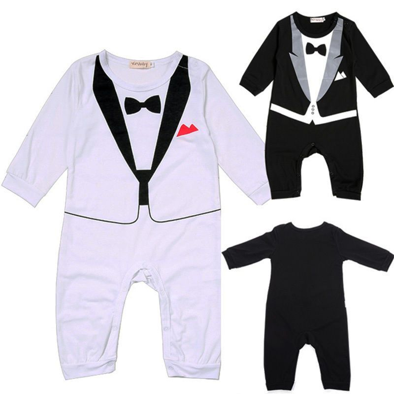 04e663c3554d Click to Buy    Newborn Infant Baby Boys Gentlemen Cotton Romper ...
