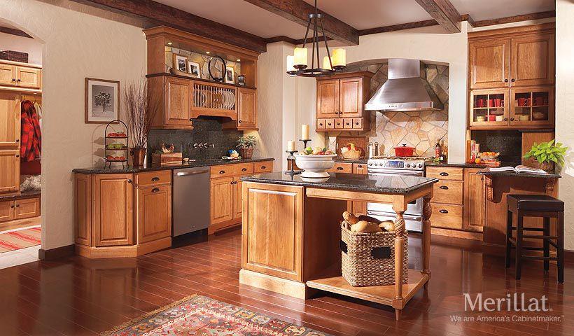Merillat Classic Somerton Hill In Cherry Amaretto With Java Glaze Merillat Kitchen Cabinets Pictures Country Style Kitchen Kitchen Design