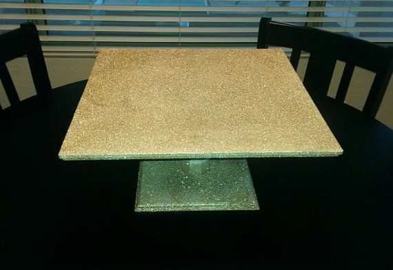 Champagne Glitter Cake Stand / Cake Riser. 16 inch Square Glitter Cake Stand