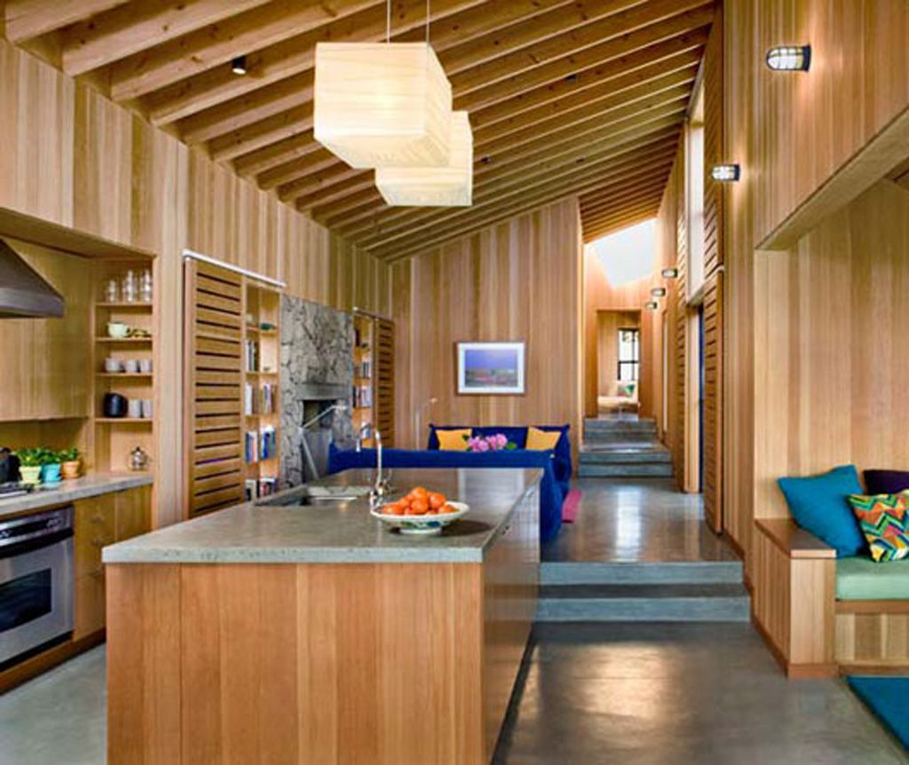 Modern Wooden Interior Beach Home Kitchen Design