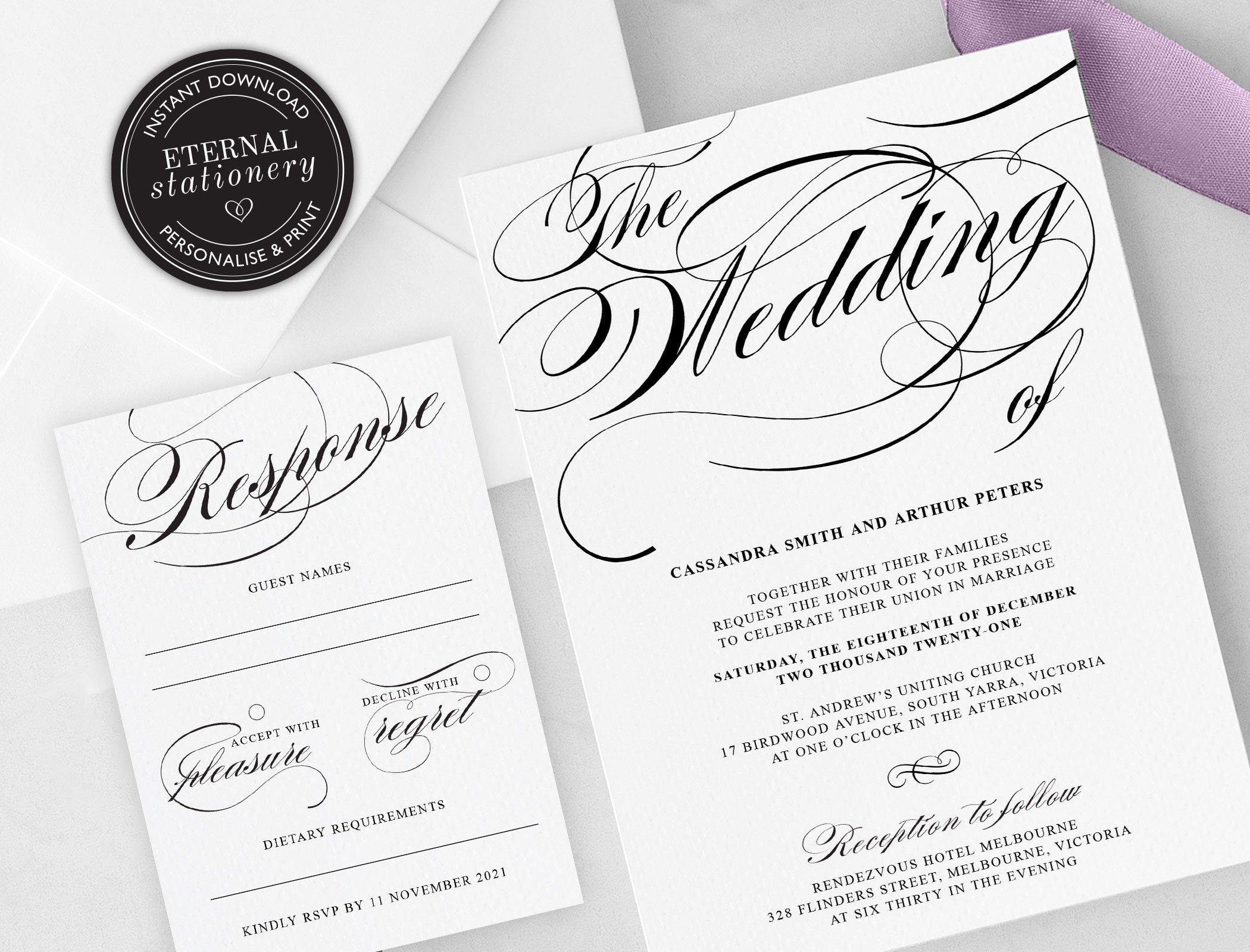 Elegant Calligraphy Wedding Invitation Template, Wedding