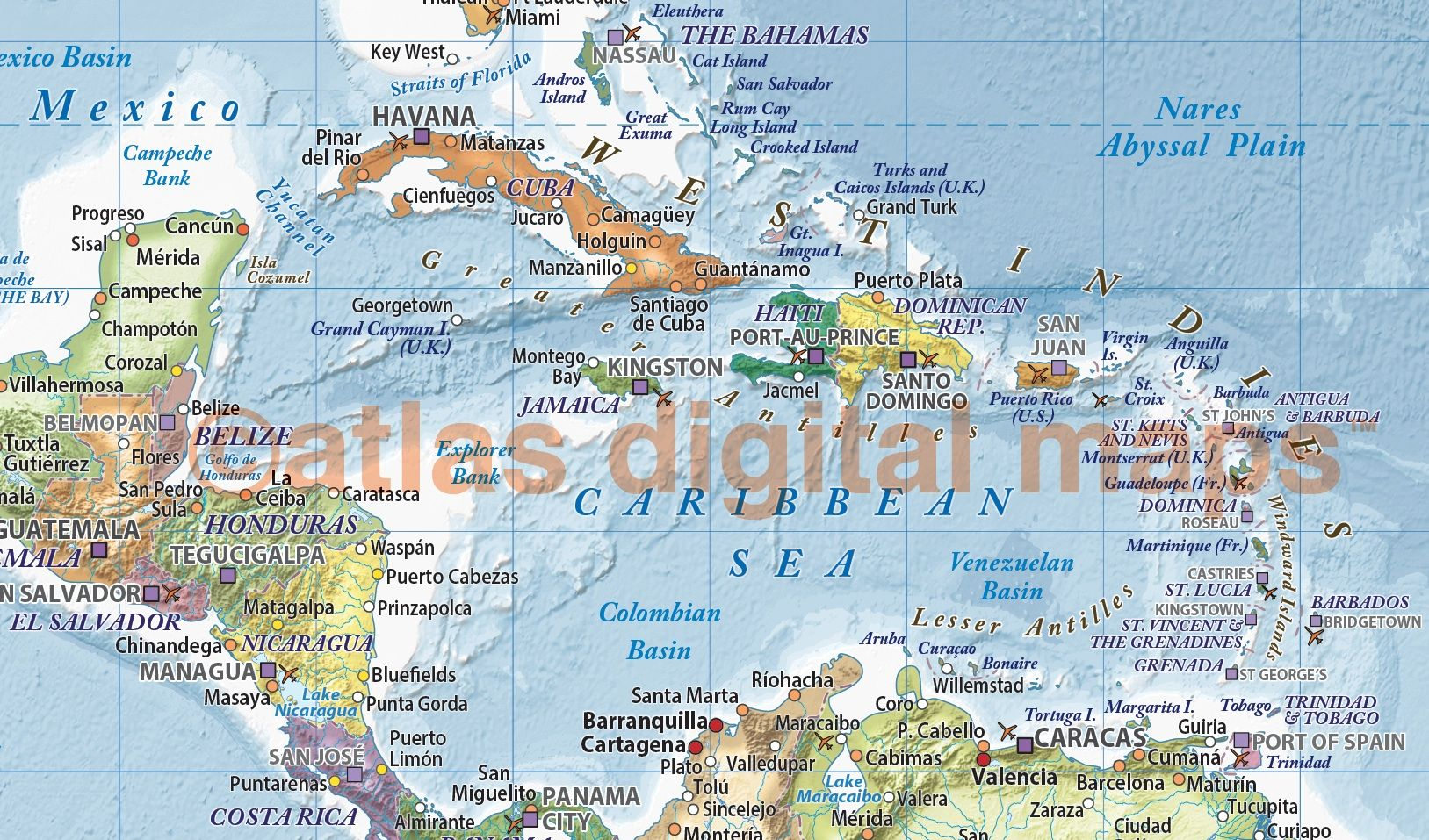 Political and ocean relief map of central america in medium colours canvas world wall map wide x deep a unique and classic fine quality political world map with light colours ocean floor contour relief gumiabroncs Images