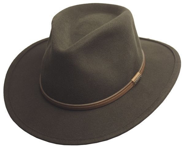 70962357e Men's Crushable Wool Felt Outback Wide Brim Classic Safari Fedora ...