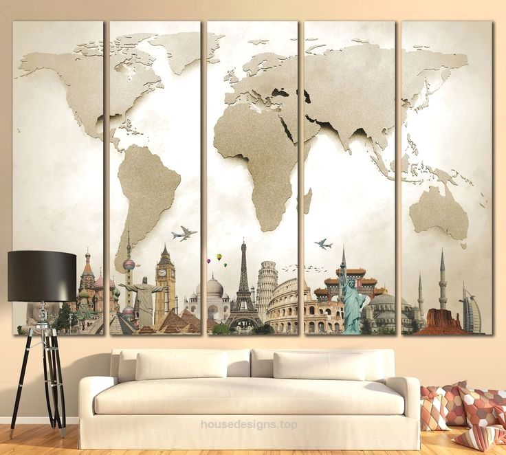 3D Effect World Map With landmarks Canvas Print From $5999u2026   - best of world map for wall mural