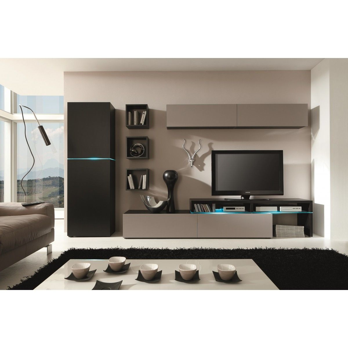 Material mdf melamine tempered glass led lighting the - Wall units for living room mumbai ...