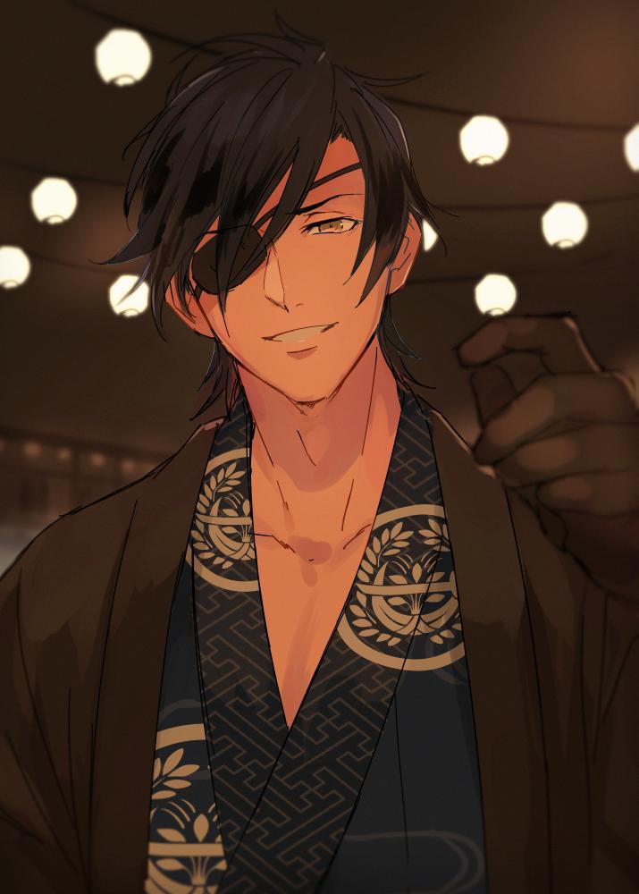 1boy Black Hair Eyepatch Gloves Hanadi Hndboo Haori Japanese Clothes Kimono Male Focus Sayagata Shokudaikiri Mitsutada Sol Touken Ranbu Anime Cute Anime Guys