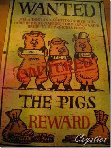 3 Pigs Wanted Poster Shrek Universal Studios Studio Shrek