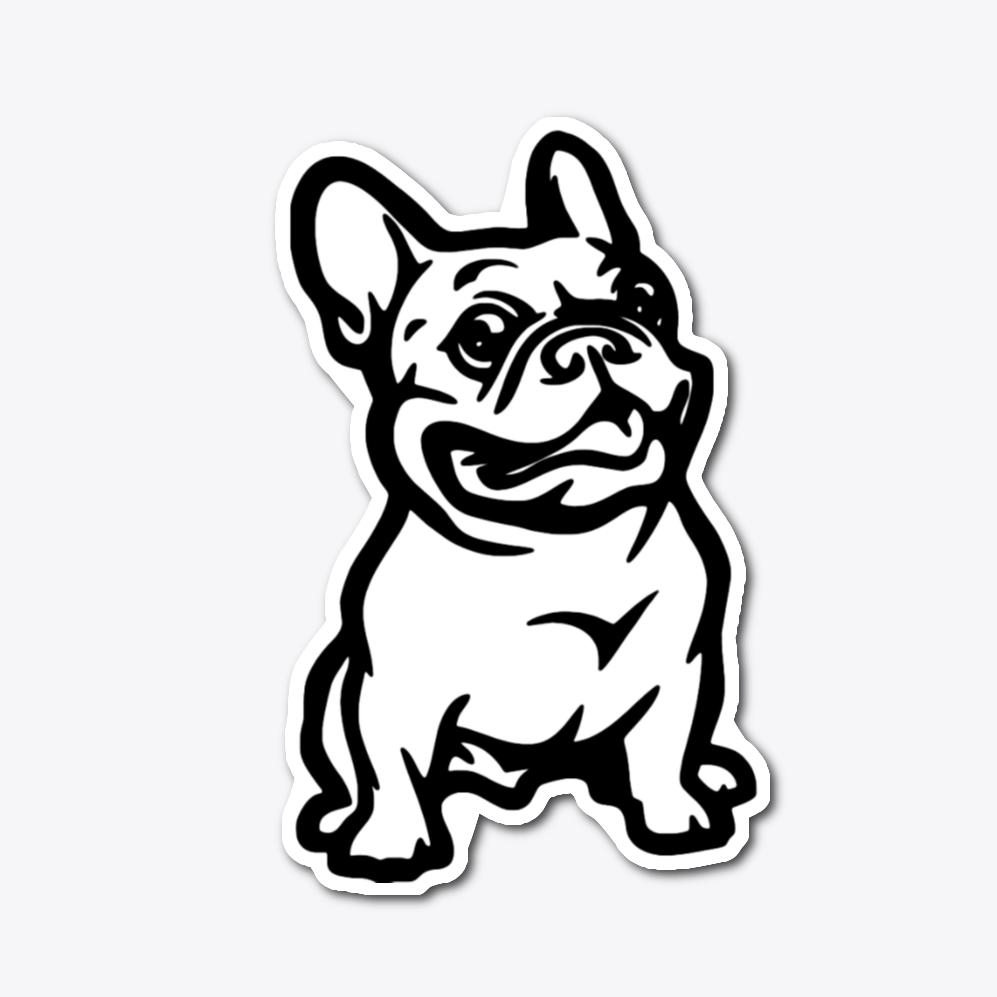 Pin On Die Cut Sticker French Bulldog