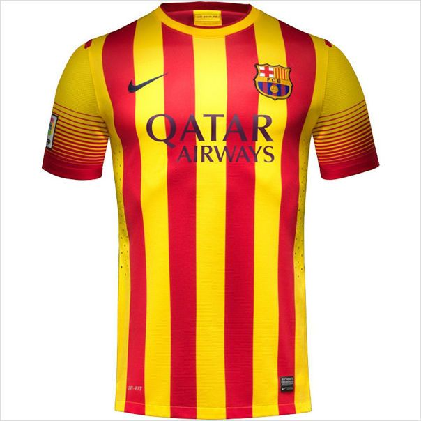 577cef5be Mens 2013 14 FC Barcelona Catalonia Flag Style Away Soccer Jersey ...