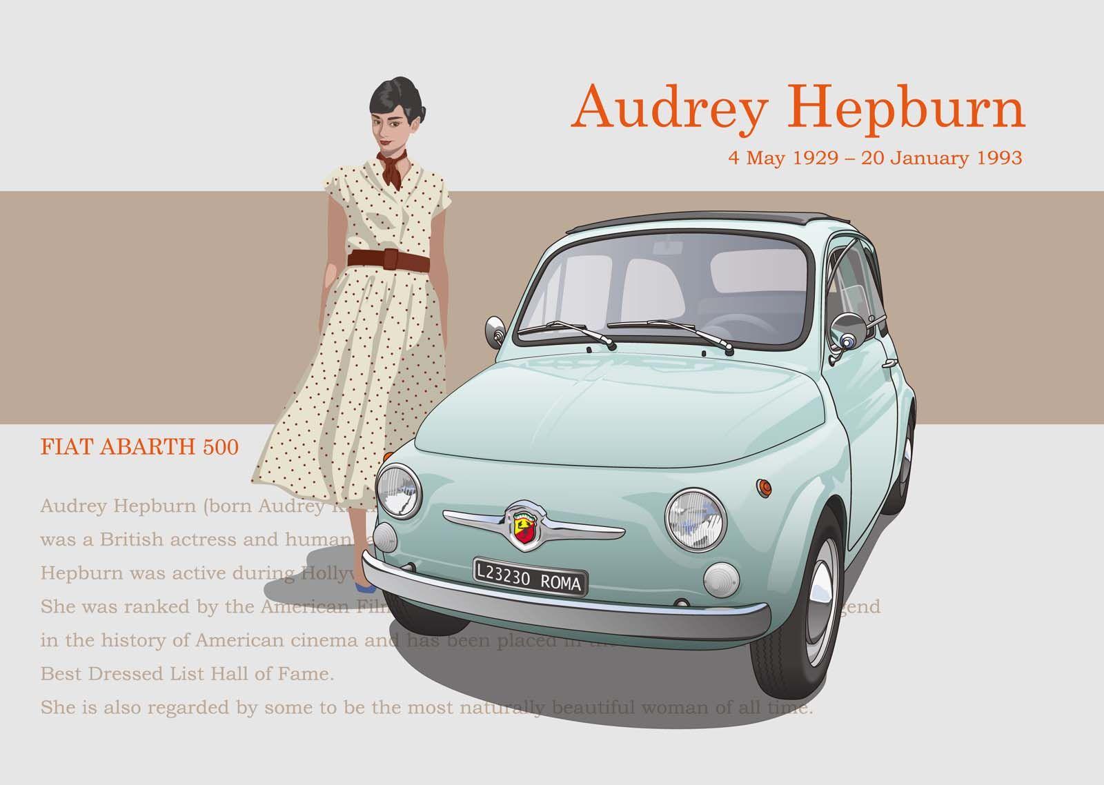 Audrey Hepburn & Abarth 500 | Illustration / Sketches / CGI ...