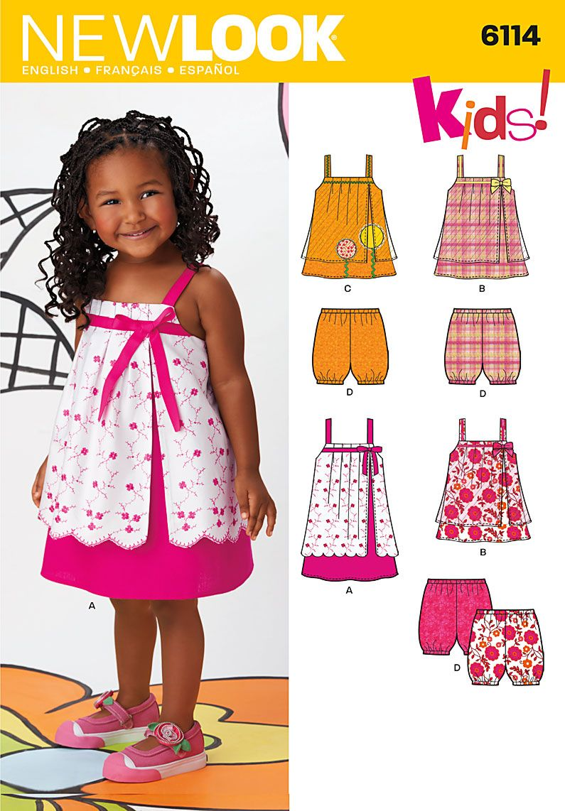 6114 Toddlers' Separates Toddler's dress or top with split front overlay and trim variations; I might already have this pattern, I need to double check