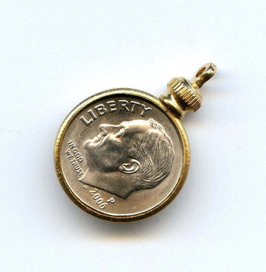 Vtg dime usa 10 cent coin holder bezel gold tone charm pendant screw vtg dime usa 10 cent coin holder bezel gold tone charm pendant screw on top aloadofball Image collections