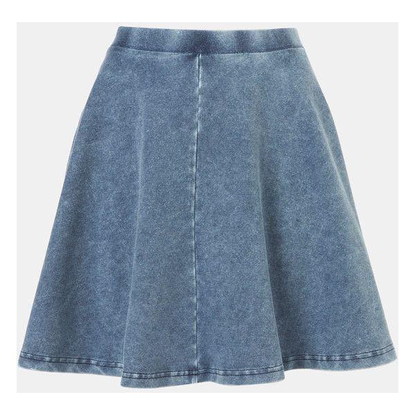 Topshop 'Andie' Denim Skater Skirt Blue 8 (2.895 RUB) ❤ liked on Polyvore featuring skirts, blue knee length skirt, blue denim skirt, blue circle skirt, blue skirt and denim skater skirt