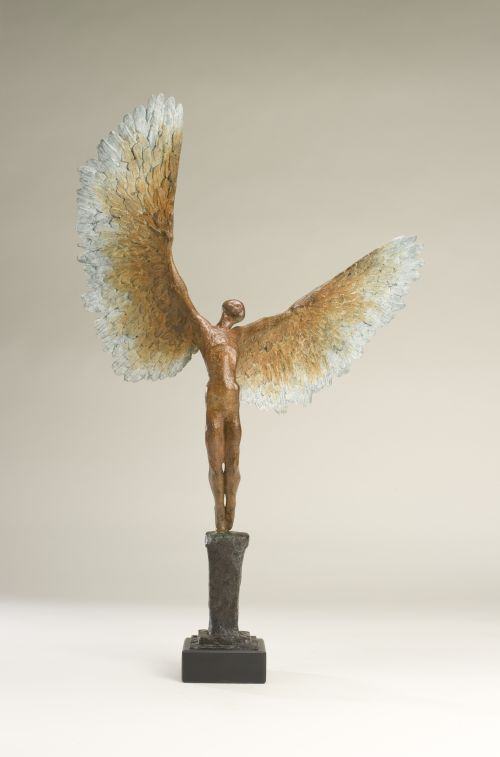Bronze Figurative Abstract Sculptures #sculpture by #sculptor Nicola Godden titled: 'Icarus VI (Bronze Taking/Launching Off Small Sculptures)' £4000 #art