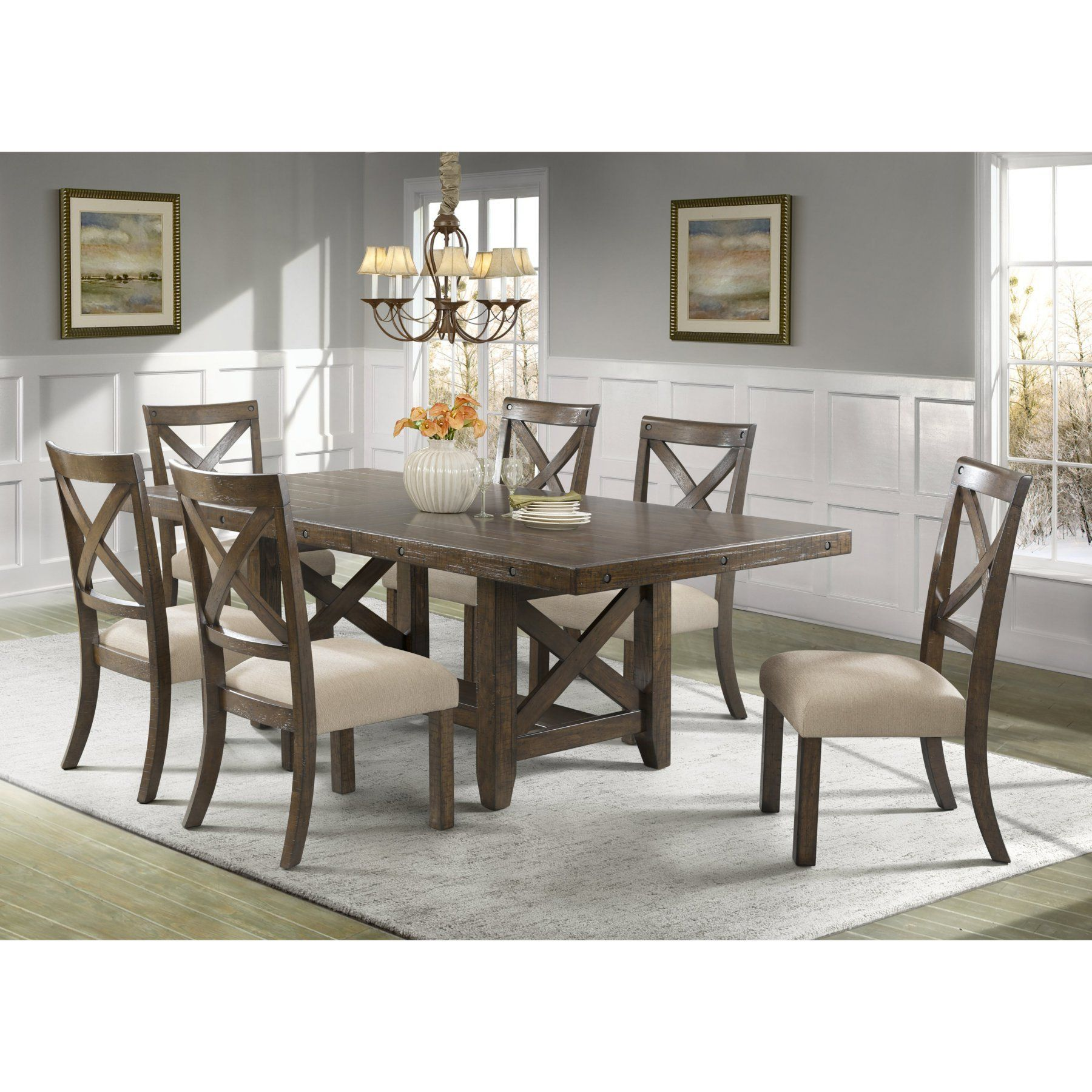 Dining room table with upholstered bench  Picket House Francis  Piece Cross Back Dining Table Set