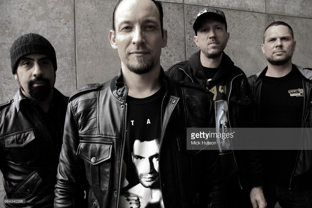 Group portrait of Danish metal band Volbeat, Wuhlheide, Berlin, Germany, 31st May 2013. Line up includes: Michael Poulsen, Rob Caggiano, Anders Kjolholm, Jon Larsen.