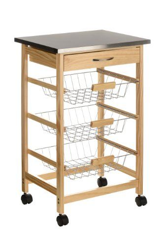 Premier Housewares Pinewood Kitchen Trolley With Stainless Steel Top