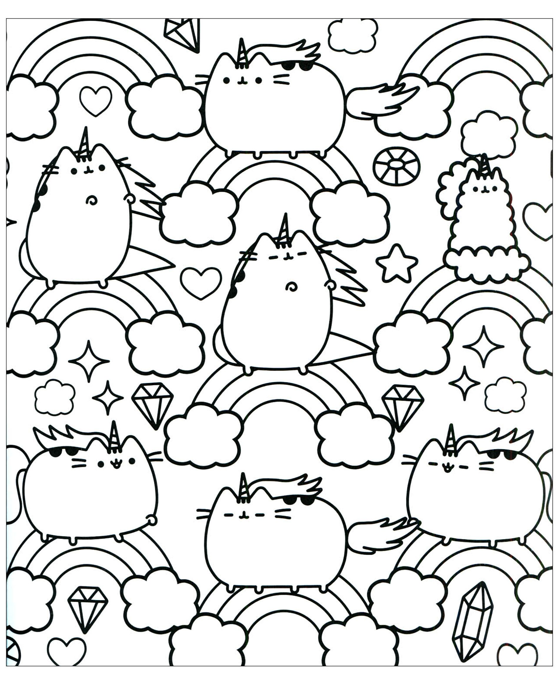 Pusheen To Color For Kids Pusheen Coloring Pages For Kids Just
