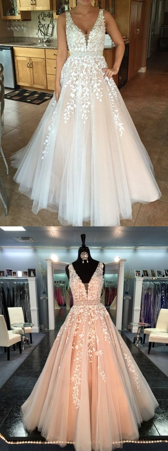Hot Sales White Lace V Neck Beaded Ball Gown Evening Prom Dresses Ld121 Prom Dresses Stunning Prom Dresses Gowns [ 1509 x 564 Pixel ]