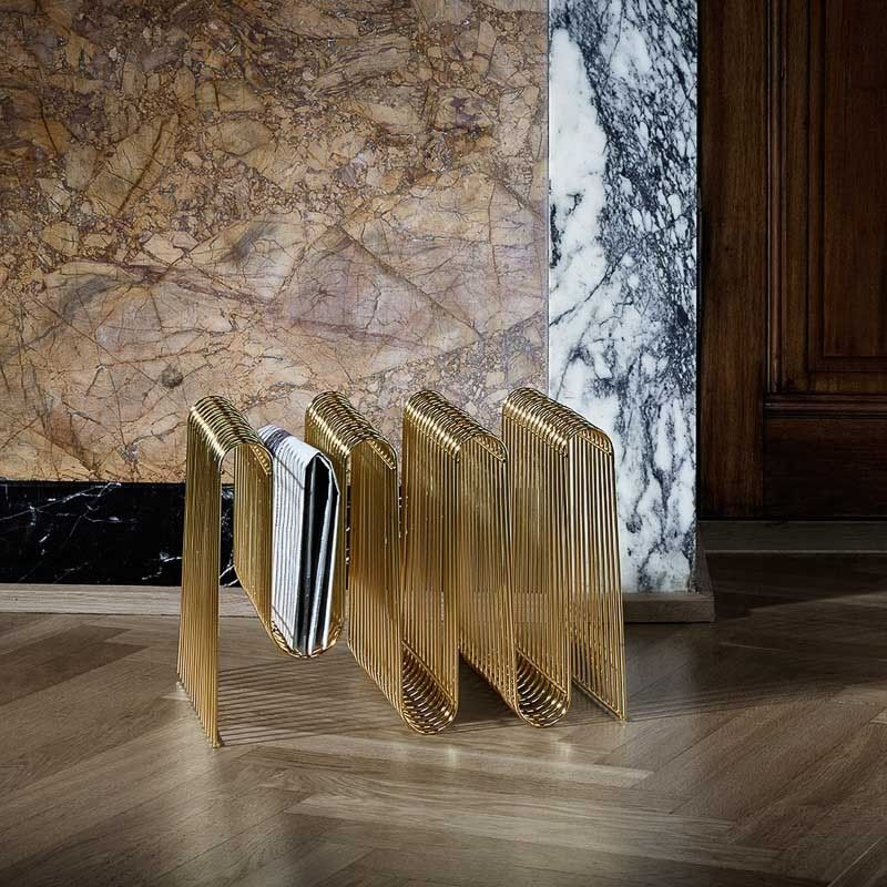 AYTM Curva Magazine Holder Rack Brass is part of Scandinavian Home Accessories Decor - Sophisticated way to store magazines and newspapers  It is not only as a functional object, but also as a sculpture which brings new vibes into the interior  Material Plated iron Size Name L 40 cm   W 30 cm   H 30 cm