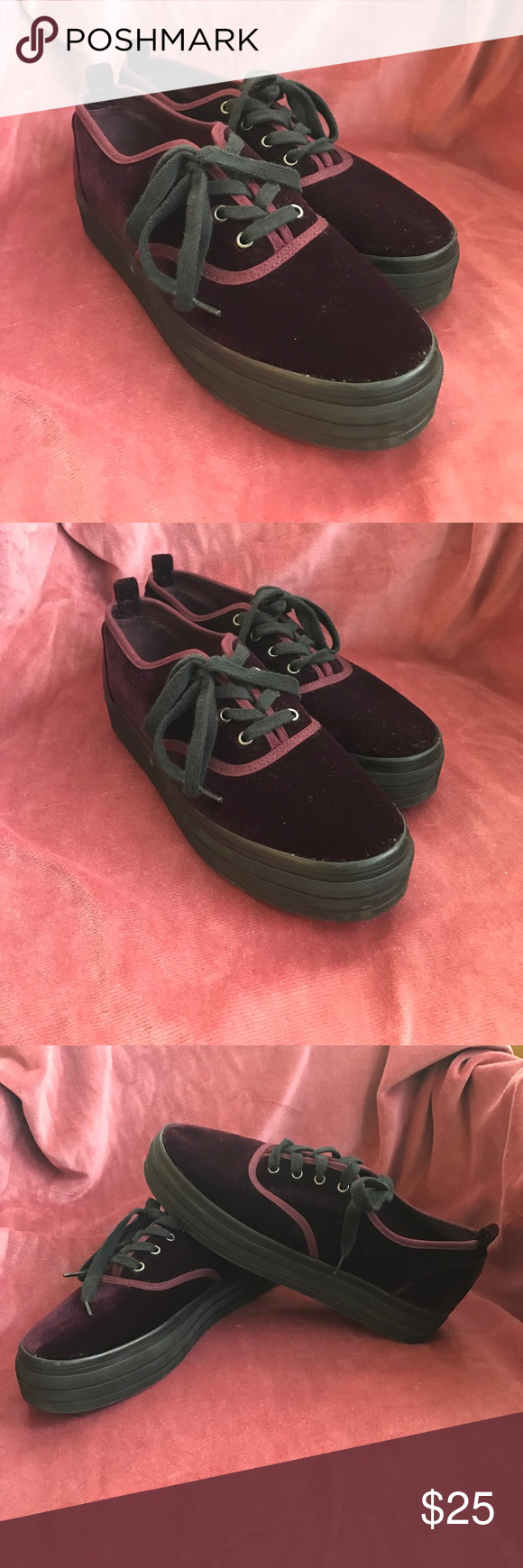dcd9ebcda23d Burgundy Red wine Velvet Platform sneakers Burgundy red purple wine colored  velvet Platform Lace up sneakers. Worn once and in like new condition!