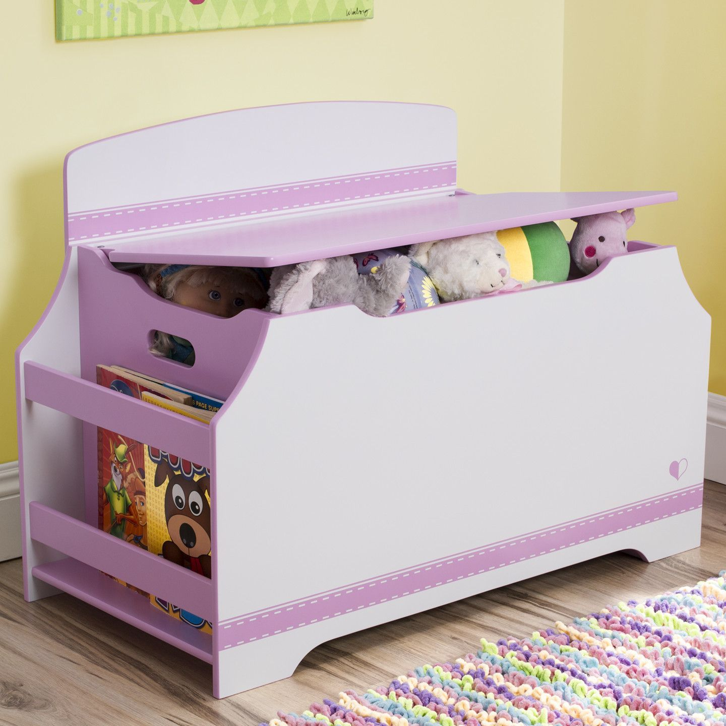 Pink Fairy Wishes Bench Seat With Storage Toy Box Seating: Features: -Jack And Jill Collection. -Strong And Sturdy
