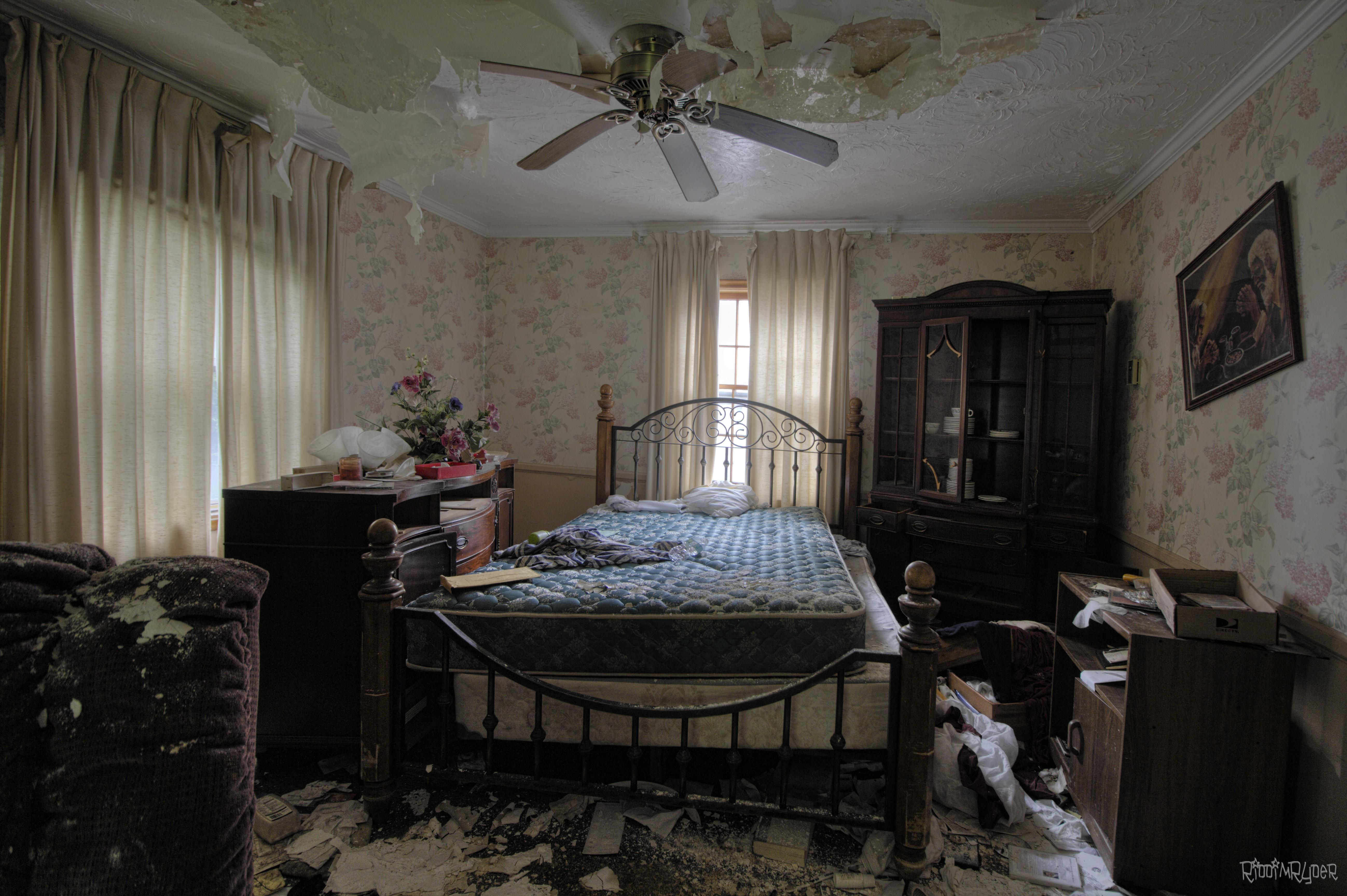 Bedroom In A Rectory Of An Abandoned Church In Detroit