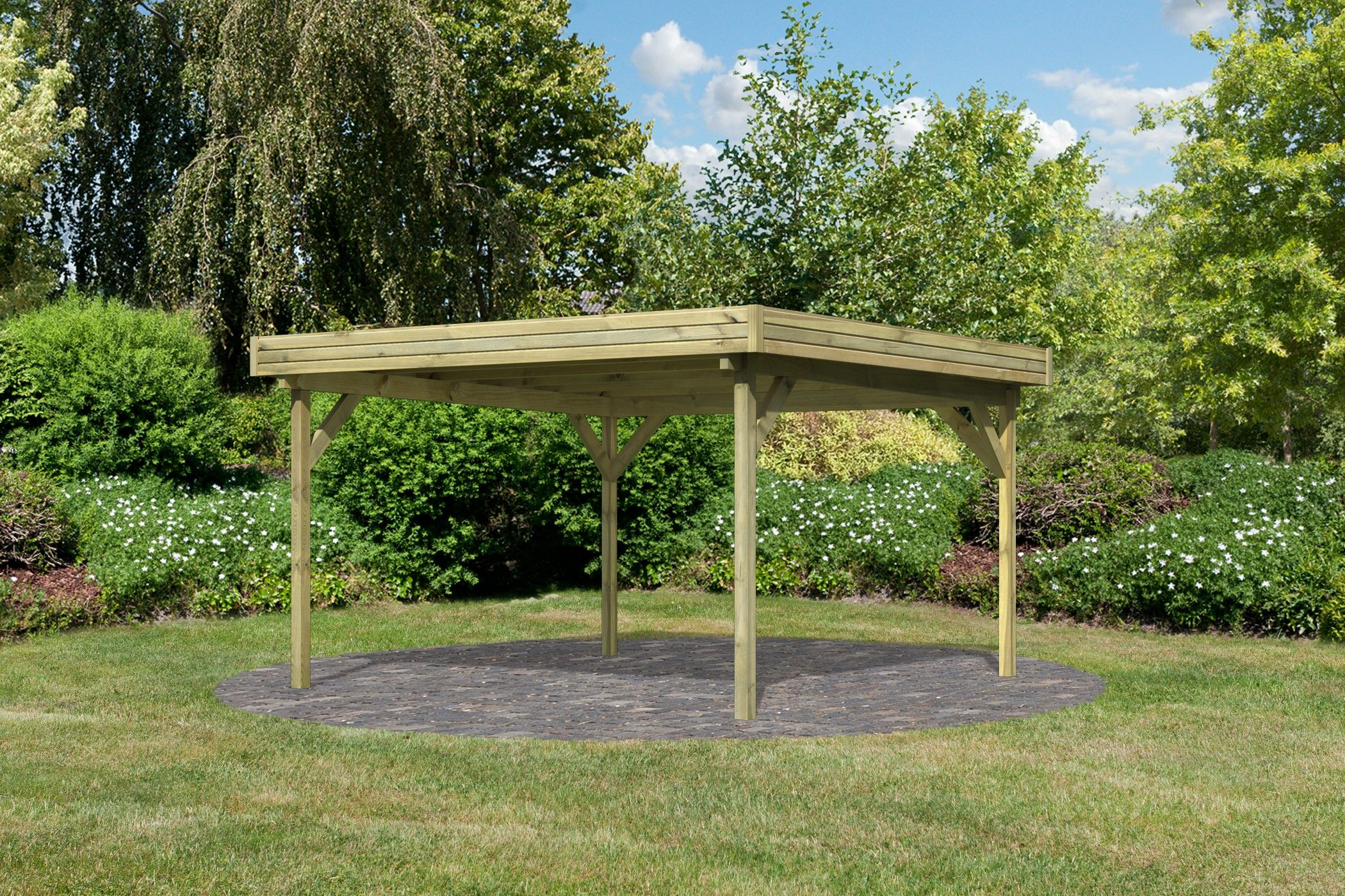 Pavillon de jardin Bois 360x360 cm à toit plat 3