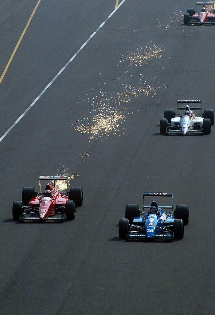 "itsawheelthing: "" Alex Caffi (21, BMS Scuderia Italia Dallara-Ford F189) overtaking Olivier Grouillard (26, LOTO Ligier-Ford JS33) Nicola Larini (17, Fondmetal Osella-Ford FA1M89) with Caffi's teammate Andrea de Cesaris chasing in the background,..."