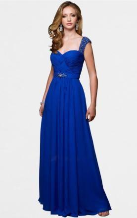 Royal Blue Sheath Column Straps Floor Length Chiffon Prom Dress