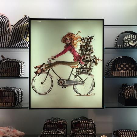 Izak Zenou at #henribendel #izakart #bendelsgirl #fashionillustration #bicycles #fungifts www.henribendel.com www.shopizak.com www.traffic-nyc.com