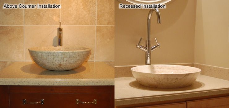 The Completed Installed Vessel Sinks Showing Above Counter