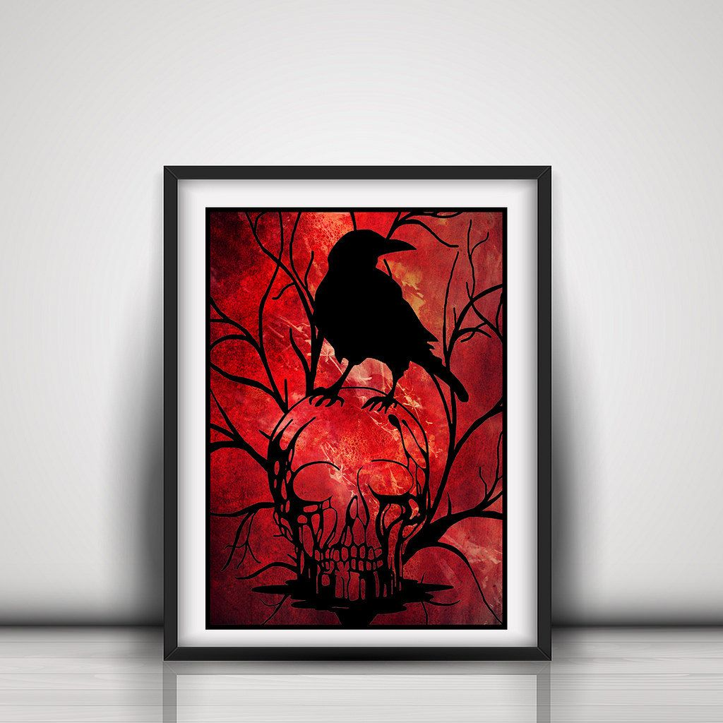 Gothic Wall Decor skull paper cut out - raven and skull gothic home decor - wiccan