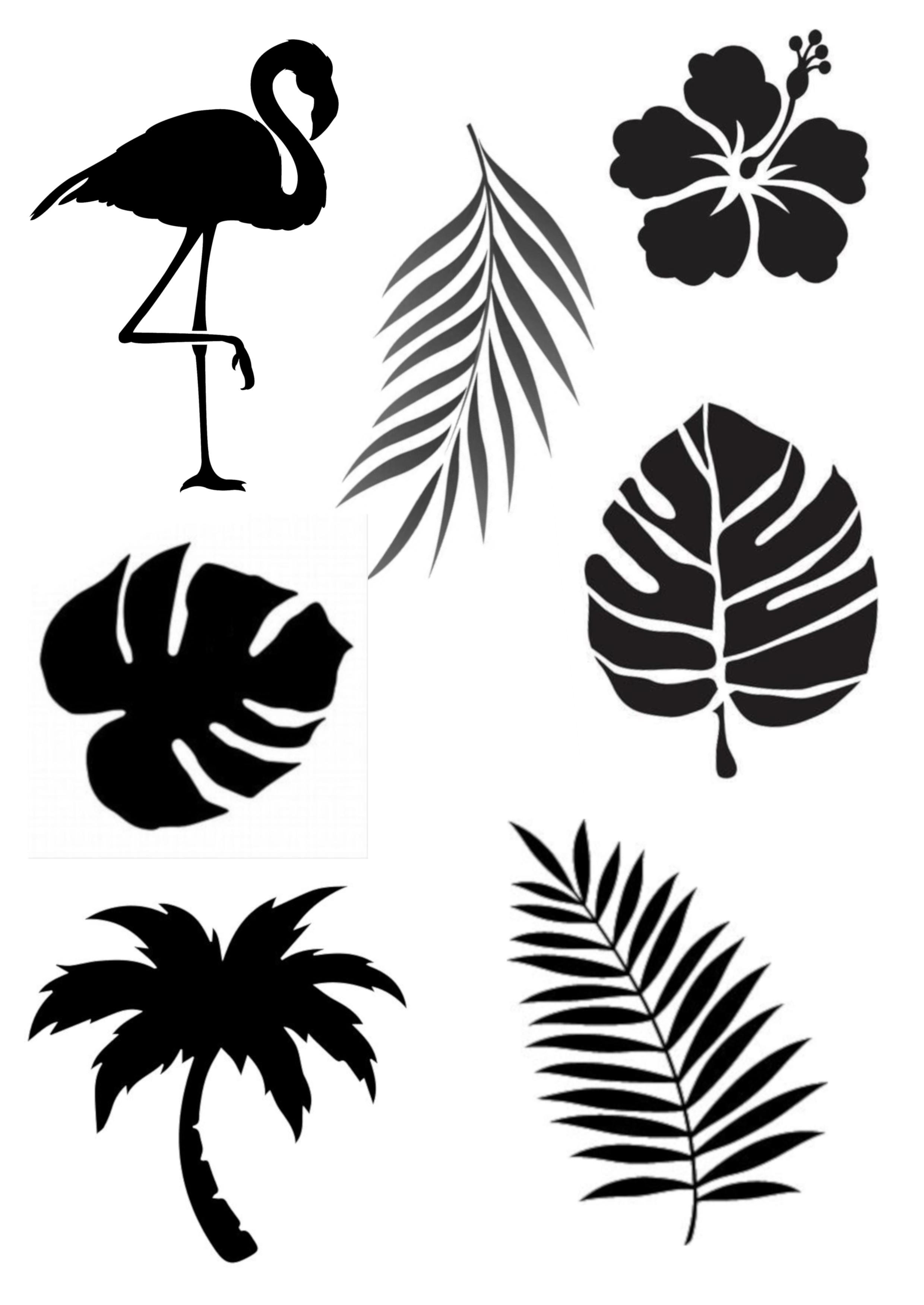 Tropical Theme Stencil A4 Various Shapes Leaf Stencil Stencils Fall Clip Art