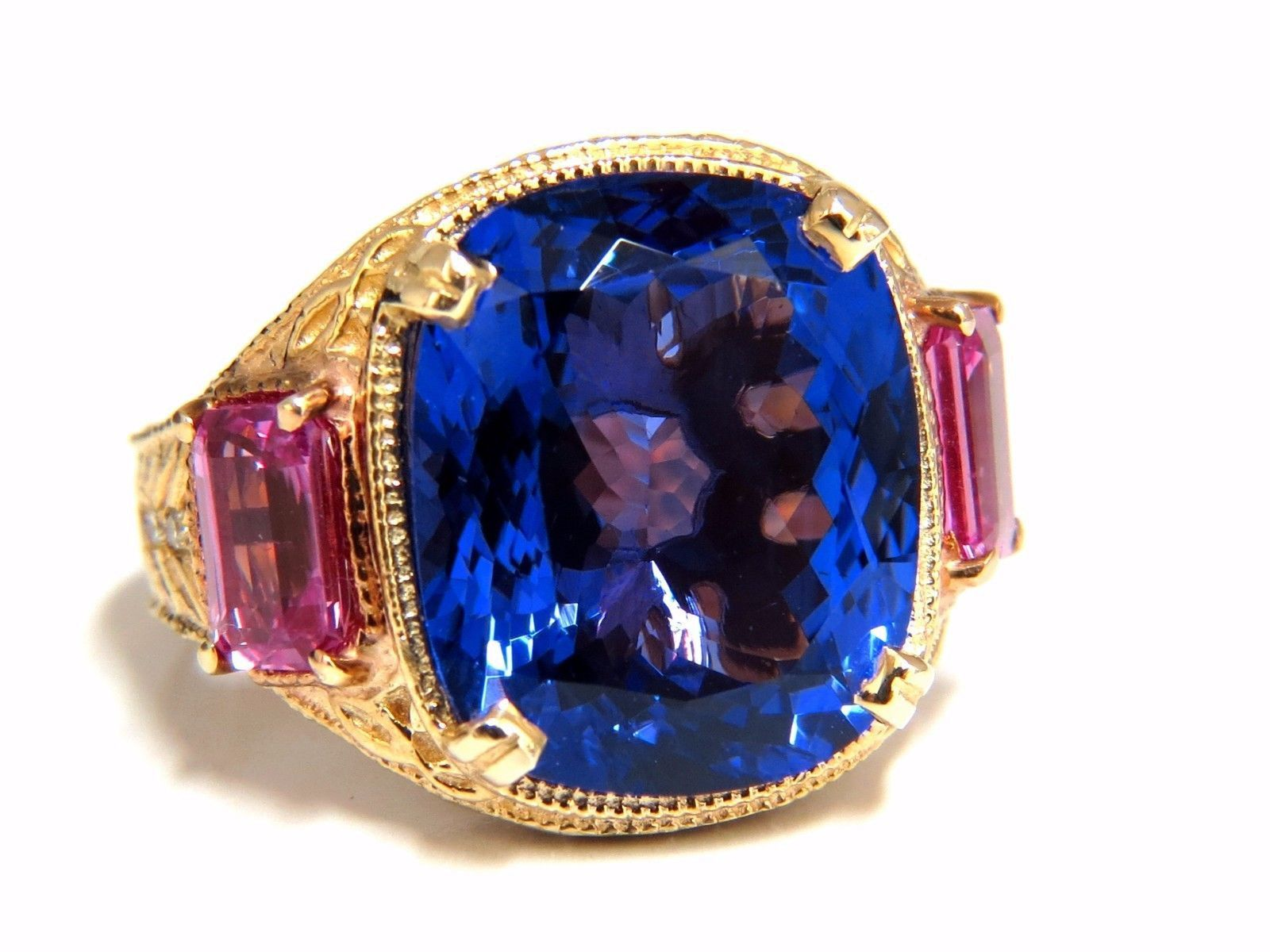 tanzanite white natural emerald and gold kt lovely ring cut gia certified tcw diamond blue