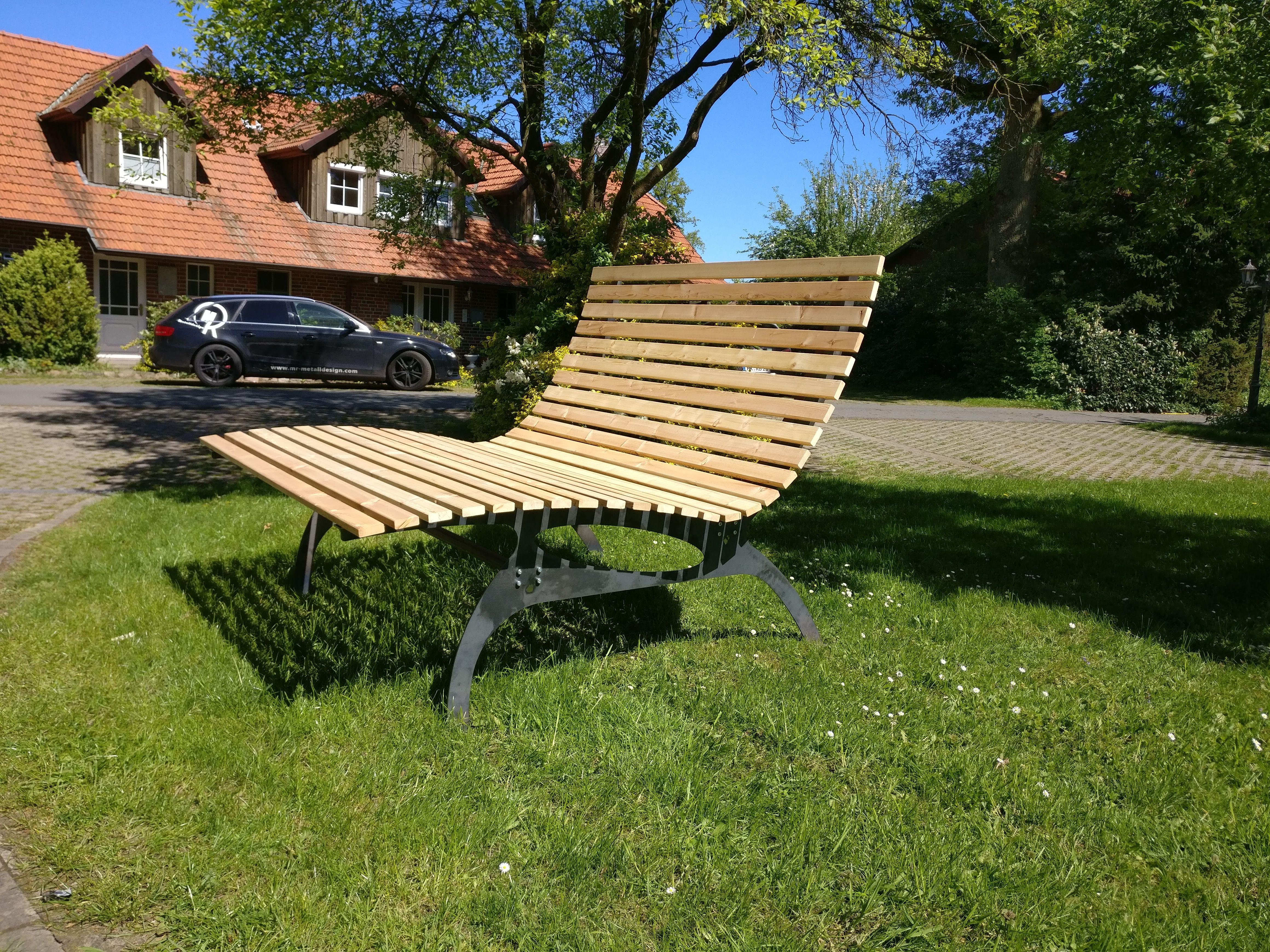 Designer Relax Gartenbank 160cm Breit Gestell Aus Stahl Latten