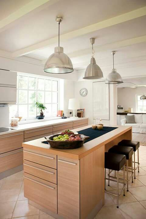 Cocina con isla cocina Pinterest Kitchens, Ideas para and House