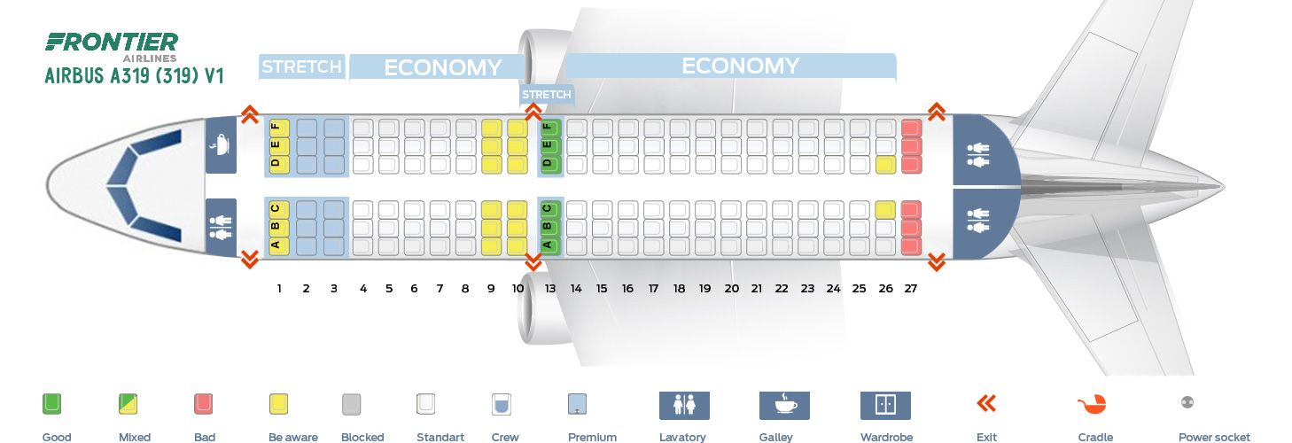 First Cabin Seat Map And Seating Chart Frontier Airlines Airbus A319 100 319 V1 Airbus Airlines Fleet