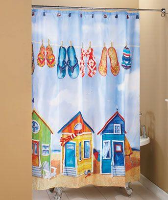 Tropical Paradise Bathroom Shower Curtain Flip Flop Beach Decor So