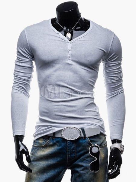 T-shirt homme moulant en coton à col V manches longues