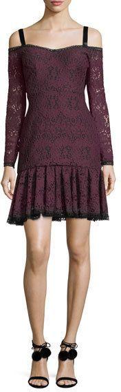 Alexis Sophia Off-the-Shoulder Long-Sleeve Lace Dress