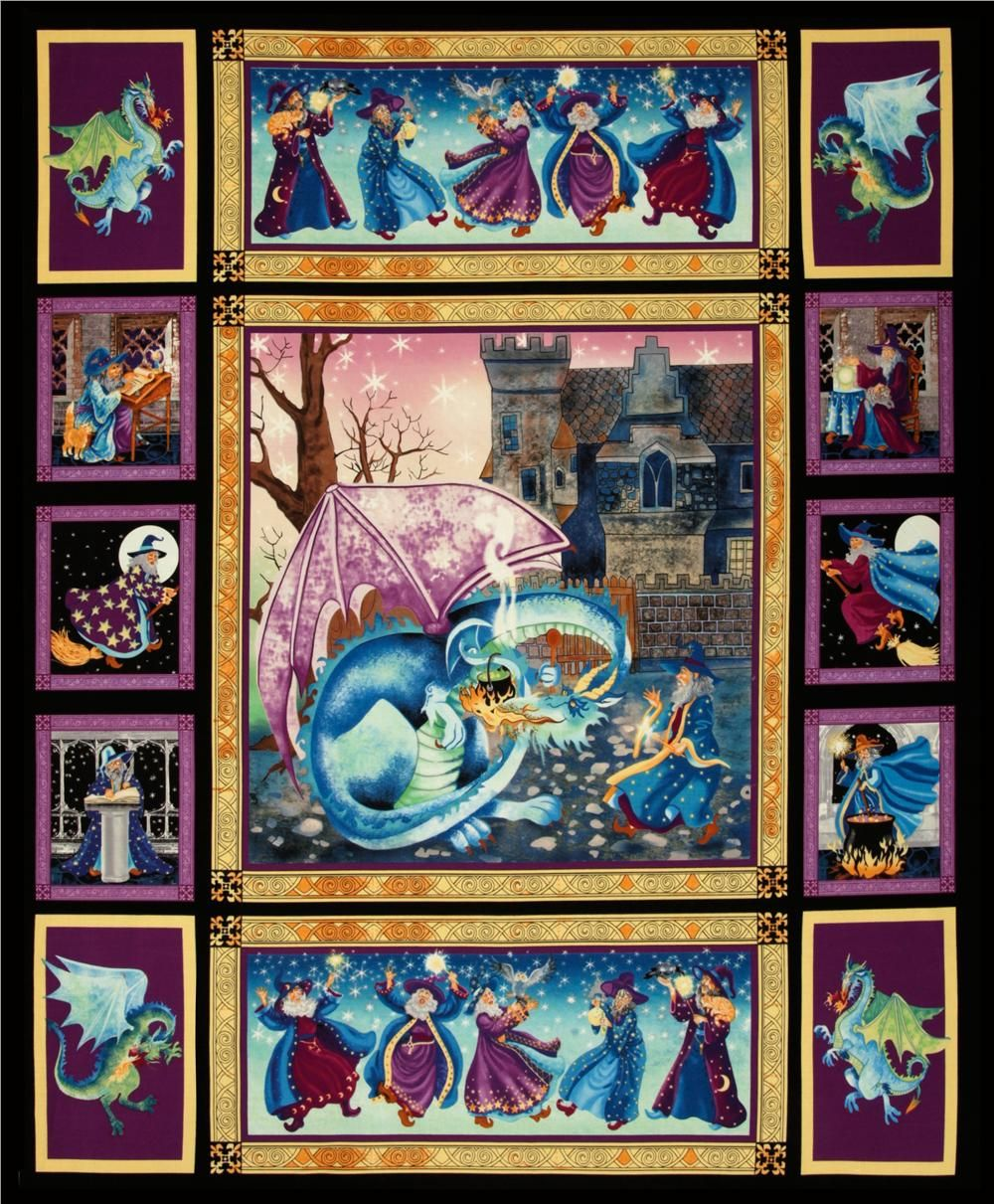Merlin Dragon, Quilts, Panel Quilts