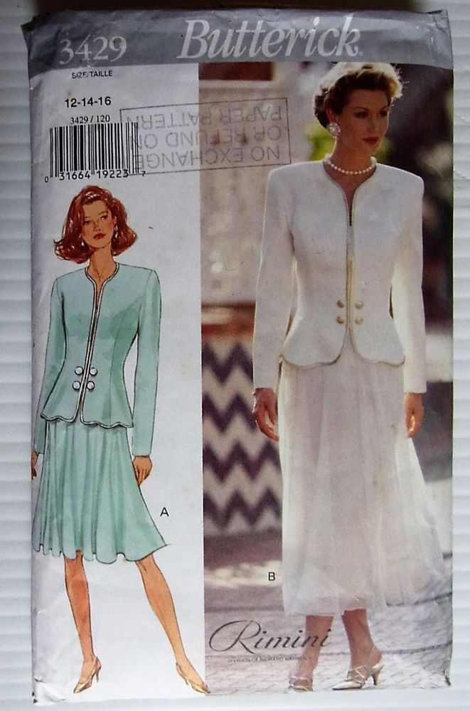 Butterick sewing pattern no.3429 Ladies Suit size 12 --14