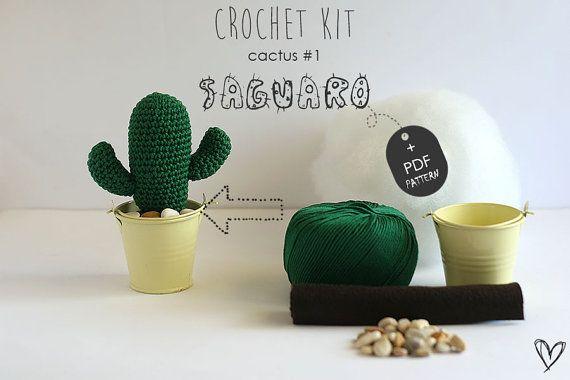Crochet Kit Cactus #1 Saguaro, Make your own cacti, DIY Crochet Kit, Crochet Pattern, DIY Craft Kit, Cacti Kit, Tutorial